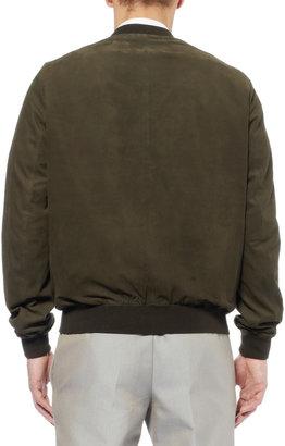 Gucci Nubuck Leather Bomber Jacket