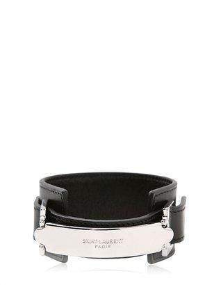 Saint Laurent Plaque Leather Bracelet