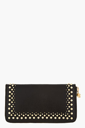 Alexander McQueen Black leather studded City Continental wallet