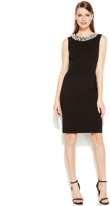 Calvin Klein Sleeveless Beaded Sheath Dress $89.98 thestylecure.com