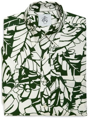 Brooks Brothers Banana Leaf Button-Down Oxford Short-Sleeve Shirt