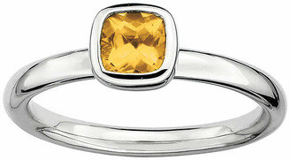 FINE JEWELRY Personally Stackable Cushion-Cut Genuine Citrine Sterling Silver Ring