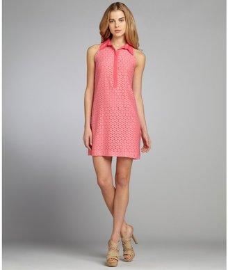 Suzi Chin flamingo stretch cotton lace sleeveless collared dress