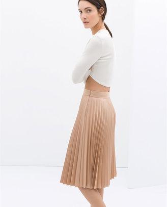 Zara Coated Pleated Skirt