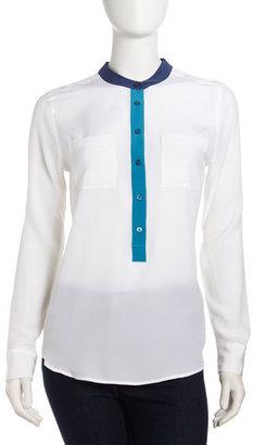 Equipment Ava Colorblock Silk Blouse, White