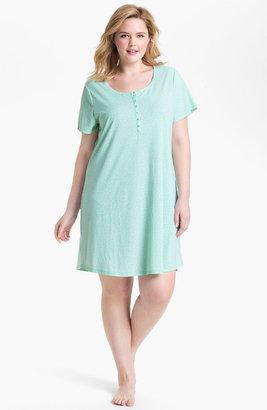Nordstrom 'Dreamy' Short Sleeve Henley Sleep Shirt (Plus Size) Aqua Floral Animal 1X