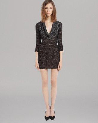 Maje Sweater Dress - Cowlneck Metallic