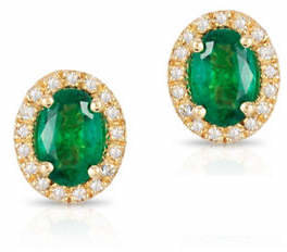 Effy 14K Yellow Gold Emerald Earrings with 0.013 TCW Diamonds