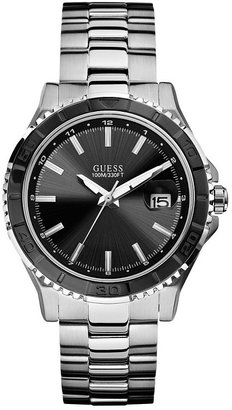 GUESS Black and Silver-Tone Masculine Sport Watch
