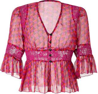 Anna Sui Magenta-Multi Printed Sheer Silk Top