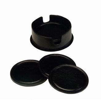 Royce Leather Leather Coasters in Leather Holder in Black (6 in set)