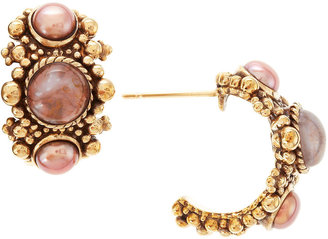 Stephen Dweck Agate and Pearl Hoop Earrings