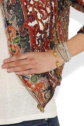 Alexander McQueen Gold-tone Swarovski crystal skull bracelet