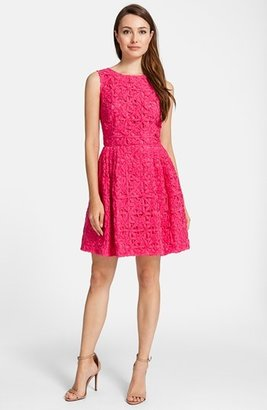 Cynthia Steffe Ribbon Lace Cotton Fit & Flare Dress