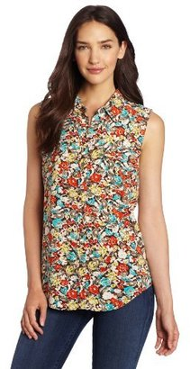 Vince Camuto Two by Women's Sleeveless Monaco Floral Utility Shirt