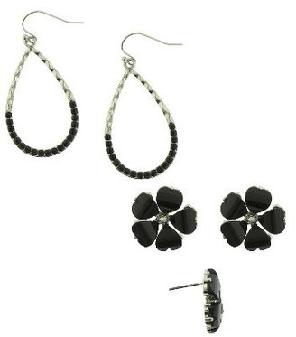 Qingdao Rihong Handicraft Article Co. Woman's Flower Studs with Stones and Open Teardrop Earrings with Stones