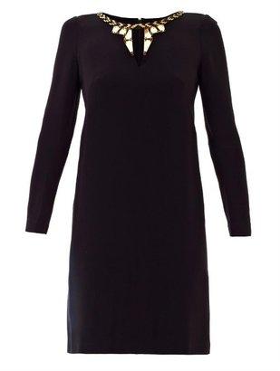Issa Embroidered neckline dress