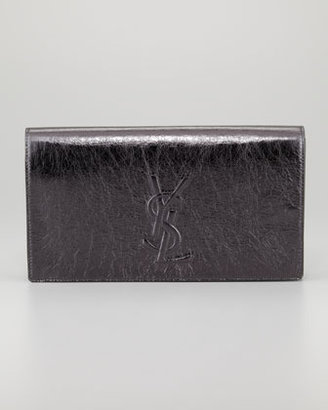 Saint Laurent Belle De Jour Metallic Clutch Bag, Anthracite