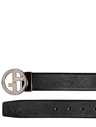 Giorgio Armani 3.5cm Reversible Leather And Metal Belt