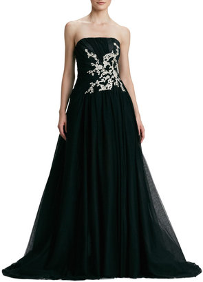Pamella Roland Strapless Embroidered Ball Gown