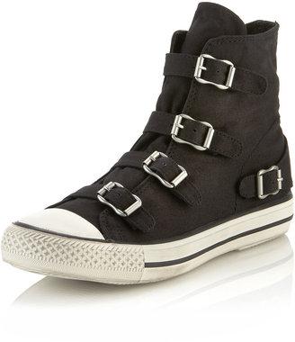 Ash Virgin Buckled Sneaker, Black