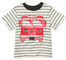 Carter's Boys' 2T-7 Grey Striped Short Sleeve Firetruck Tee