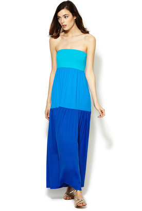 Susana Monaco Jersey Colorblock Tube Maxi Dress