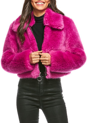 Fabulous Furs Zip-Up Chubby Faux-Fur Jacket