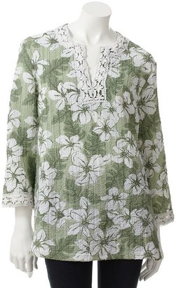 Cathy daniels floral crochet crinkled tunic