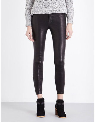 J Brand Ladies Black Leather Noir L8001 Super-Skinny Mid-Rise Leggings, Size: 23