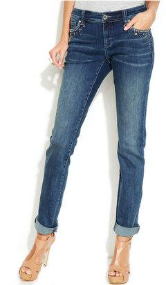 INC International Concepts Petite Embellished Skinny Cuffed Jeans, Indigo Wash