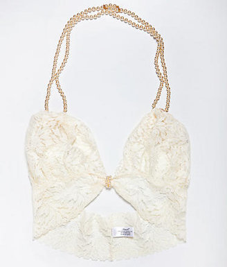 Bracli Begos Lace Bra with Double Strands of Pearls
