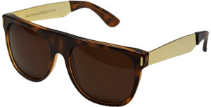 RetroSuperFuture Super Sunglasses Flat Top Havanna Glitter Gold Temple