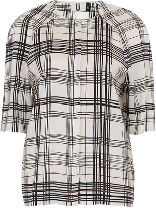 Topshop **Silk Dome Sleeve Check Top by Unique