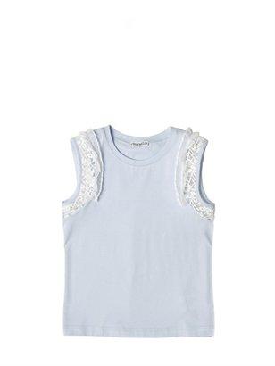 Simonetta Tulle Lace Cotton Jersey Tank Top