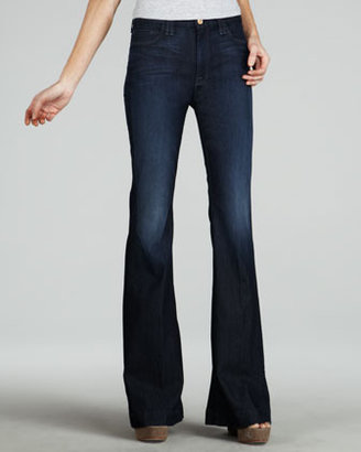 7 For All Mankind High-Waist Deep Blue Creek Flare Jeans