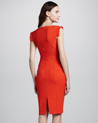 Black Halo Keyton Peplum Dress, Orange
