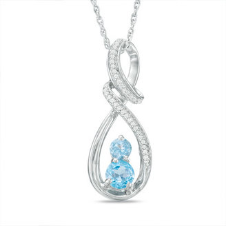 Blue Topaz and Diamond Accent Two-Stone Swirl Infinity Pendant in Sterling Silver
