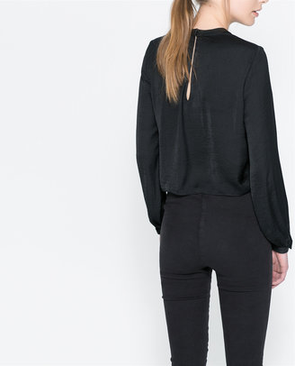 Zara Top With Faux Leather Neck