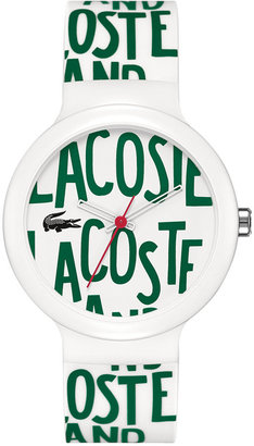 Lacoste Watch, Unisex Goa Green and White Silicone Strap 40mm 2020055
