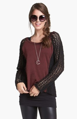 Lush Knit Panel Crochet Pullover (Juniors)