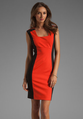 Shoshanna Combo Gloria Sheath Dress in Cardinal Red/Black