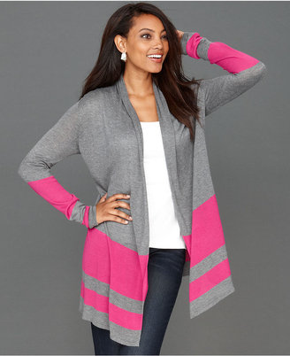 INC International Concepts Cardigan, Long-Sleeve Wide-Stripe Draped