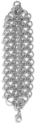 GUESS Straight-Up Silver-Tone Weave Bracelet