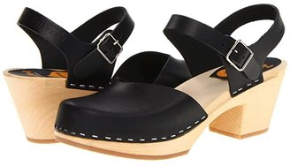 Swedish Hasbeens Covered High (Black/Nature) Women's Clog Shoes
