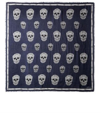 Alexander McQueen Stained glass skull-print scarf