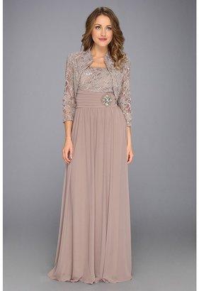 Jessica Howard Lace Bolero w/Long Dress w/Beading (2-Piece) (Taupe) - Apparel