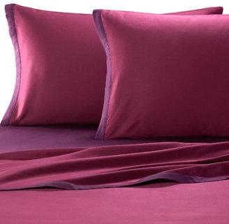 Kas Two Tone Sheet Set - Plum/Berry, 100% Cotton, 300 Thread Count