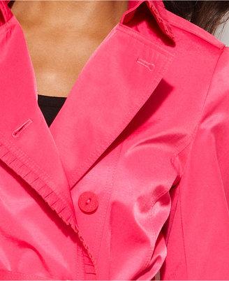 Tahari Ruffle-Trim Belted Trench Coat
