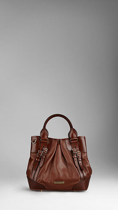 Burberry Small Bridle Leather Belted Tote Bag